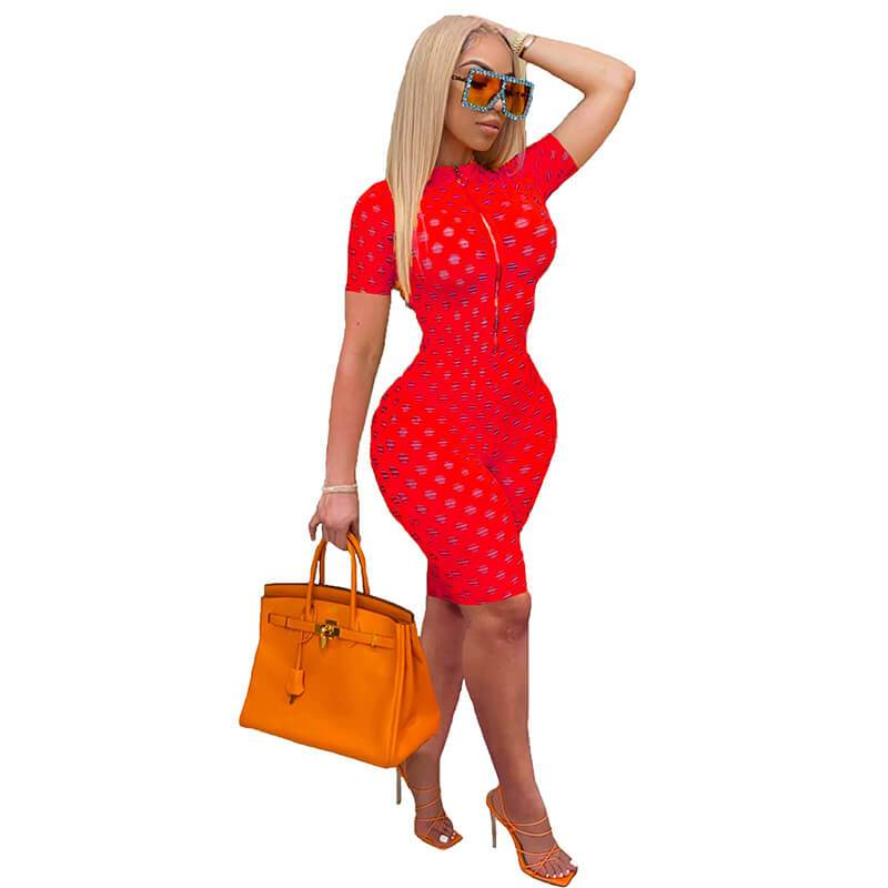 Womens Sexy Jumpsuit-red-front view