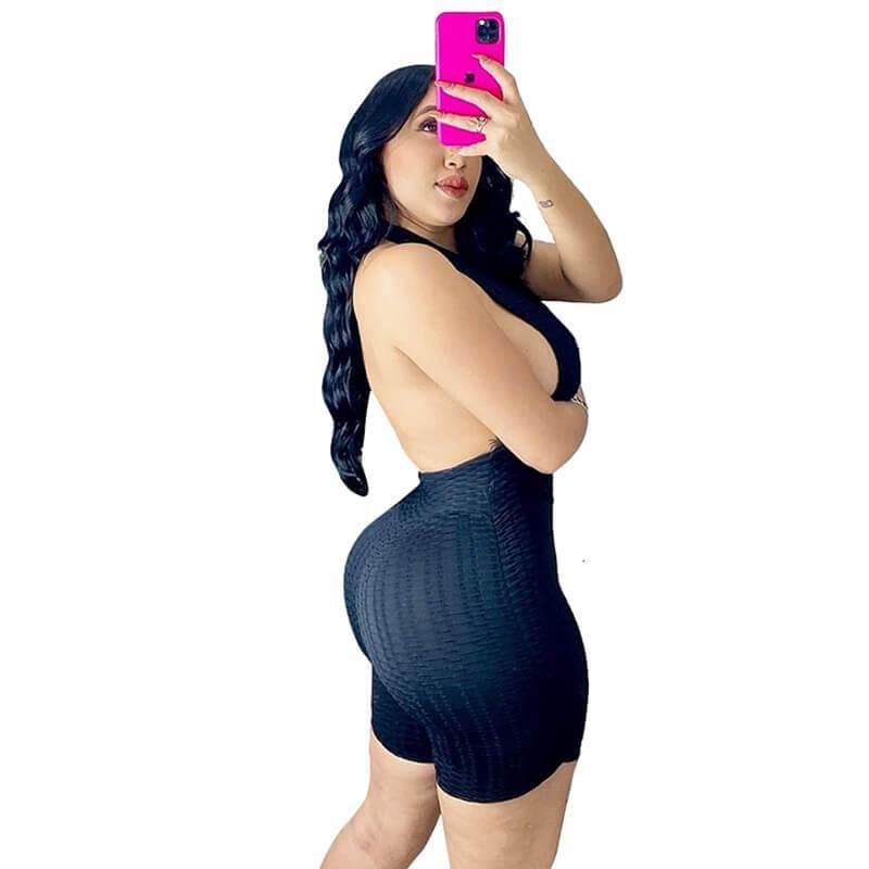 Sleeveless Romper Womens-black-offside view