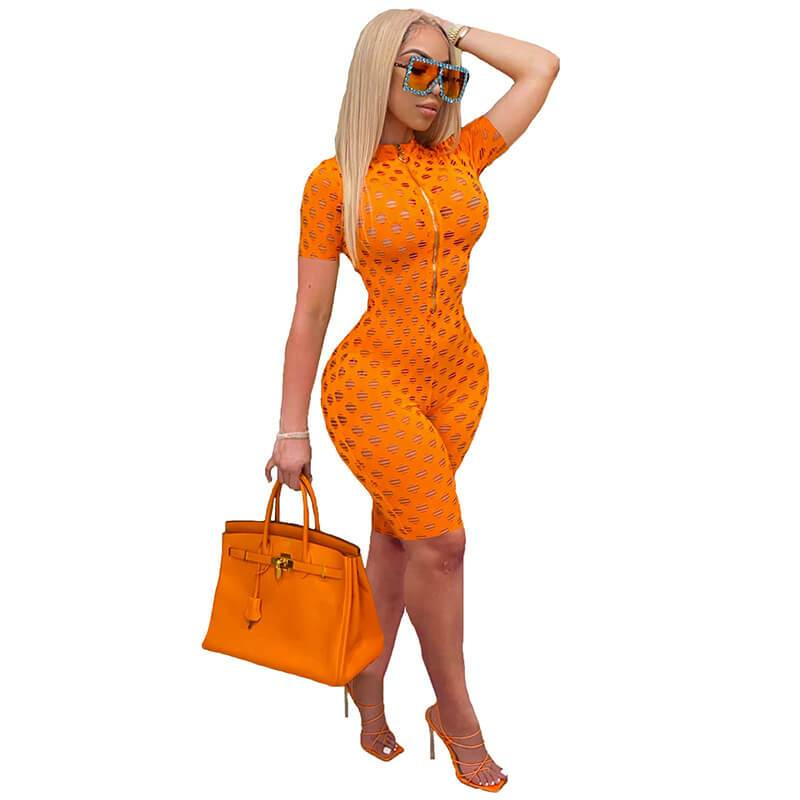 Womens Sexy Jumpsuit-orangr-front view