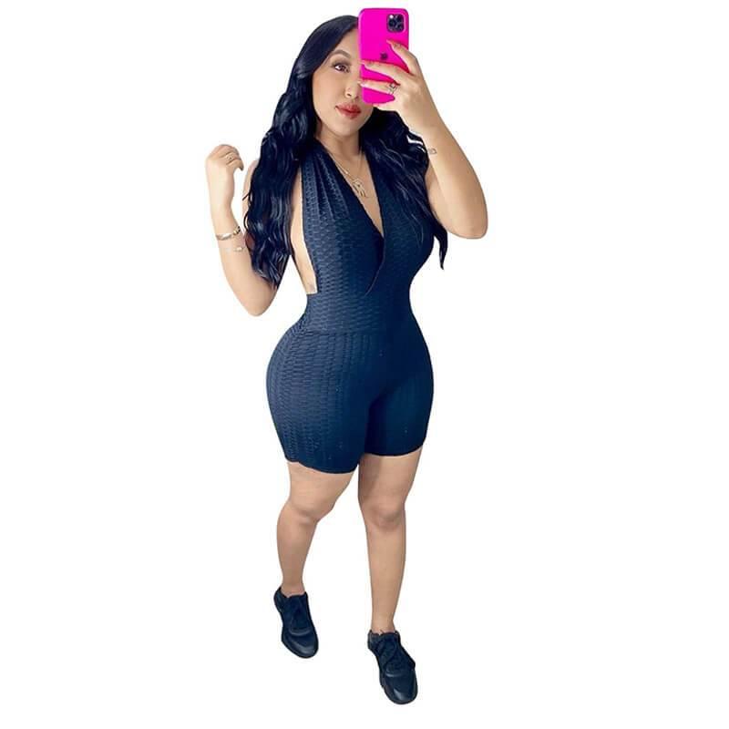 Sleeveless Romper Womens-black-model view