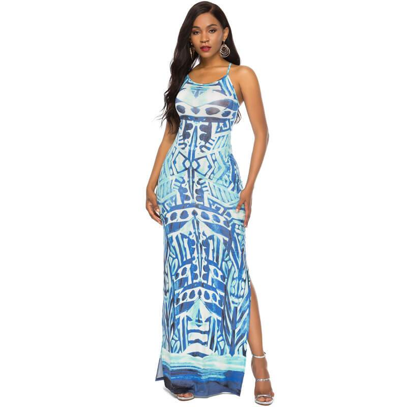 Strappy Summer Dresses -blue positive