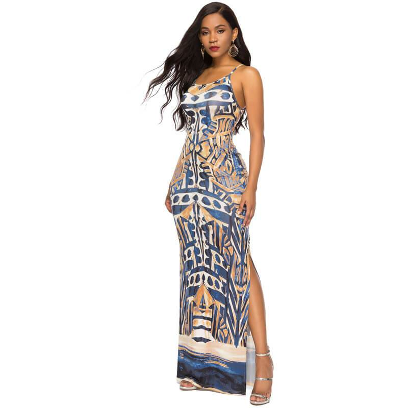 Strappy Summer Dresses - deep blue color - Back view