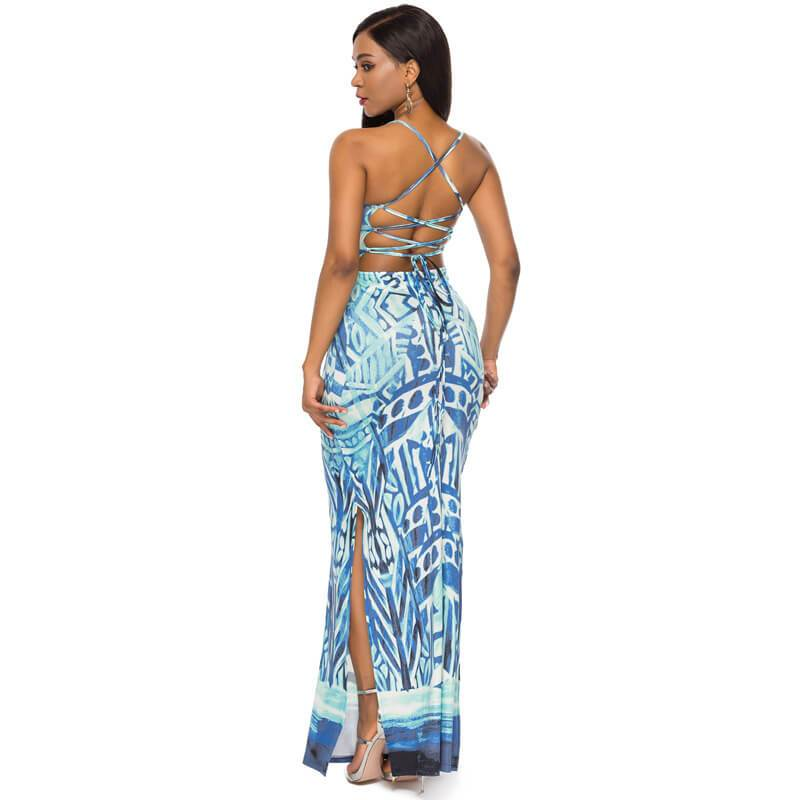Strappy Summer Dresses -blue color - Back view