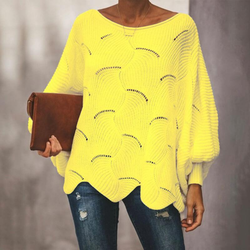 Plus Size Pink Sweater - yellow color