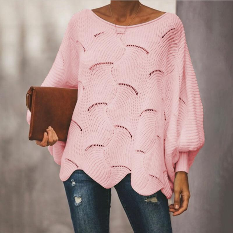 Plus Size Pink Sweater - pink color