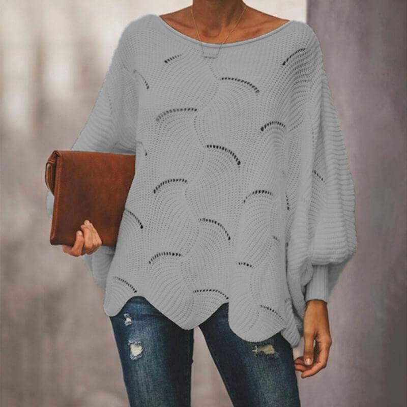Plus Size Pink Sweater - gray color