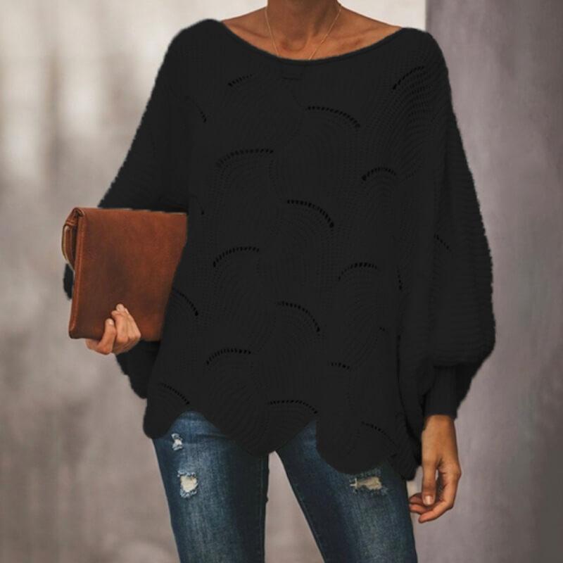 Plus Size Pink Sweater - black color