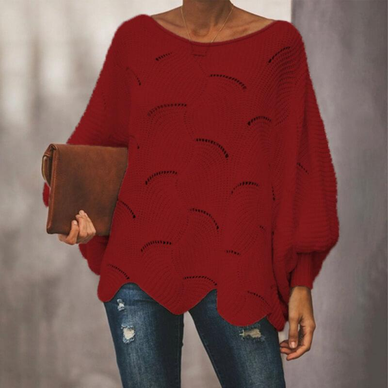 Plus Size Pink Sweater - red color