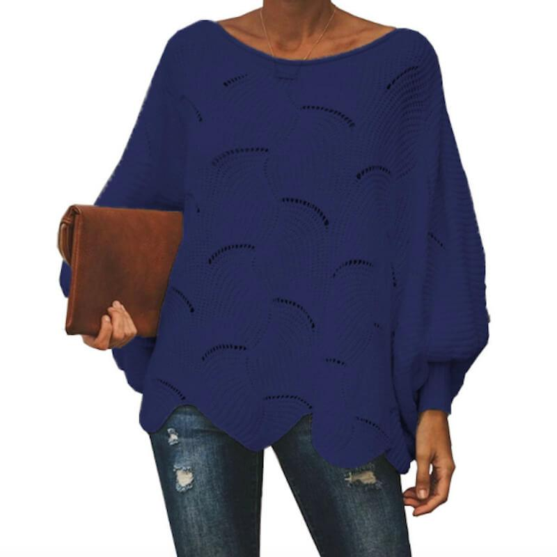 Plus Size Pink Sweater - navy blue color