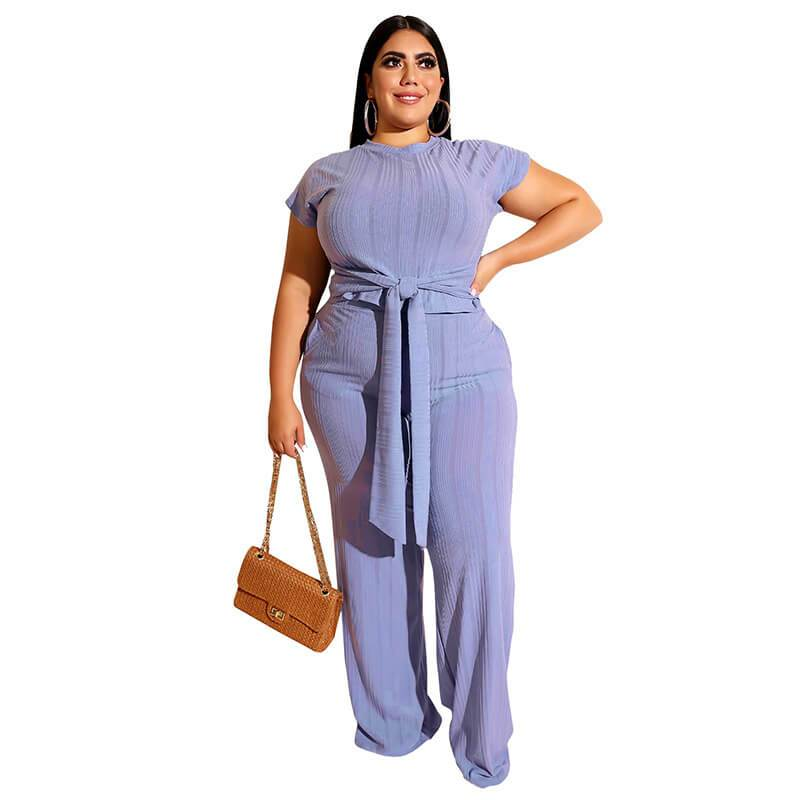 Plus Size Strappy Solid Color Sets - blue  color