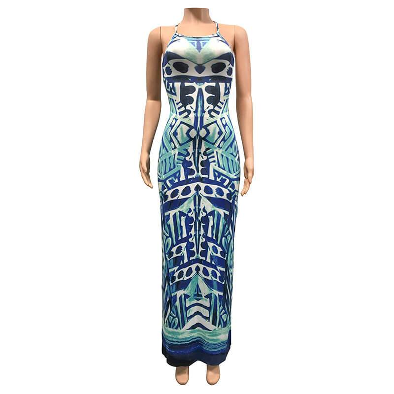 Strappy Summer Dresses - blue positive