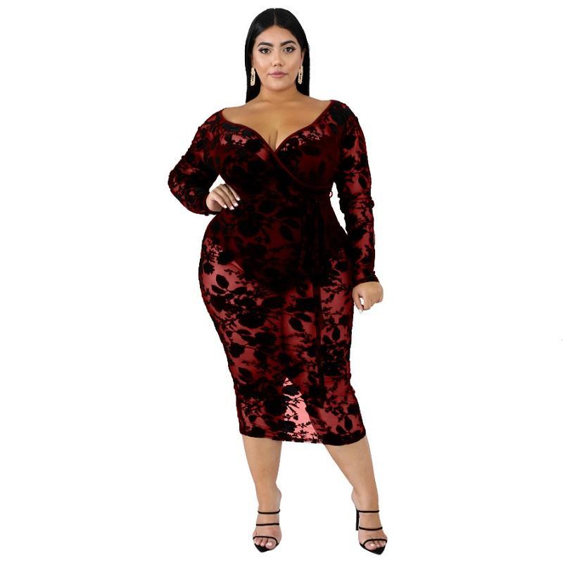 Black Plus Maxi Dress - red color