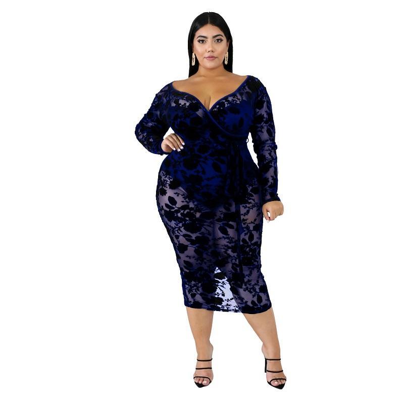 Black Plus Maxi Dress -blue color