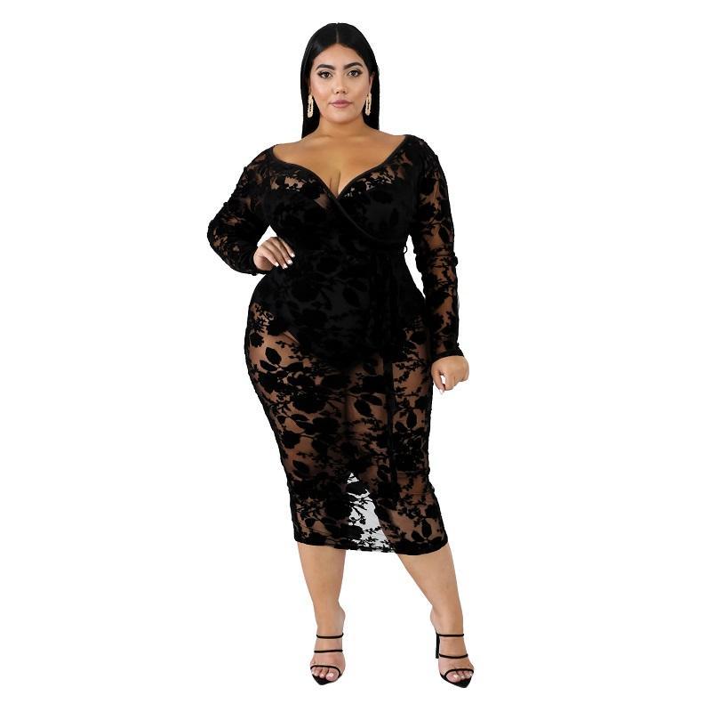 Black Plus Maxi Dress - black positive