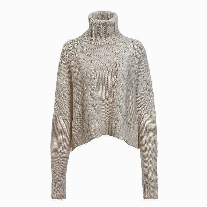 Plus Size White Sweater - khaki color