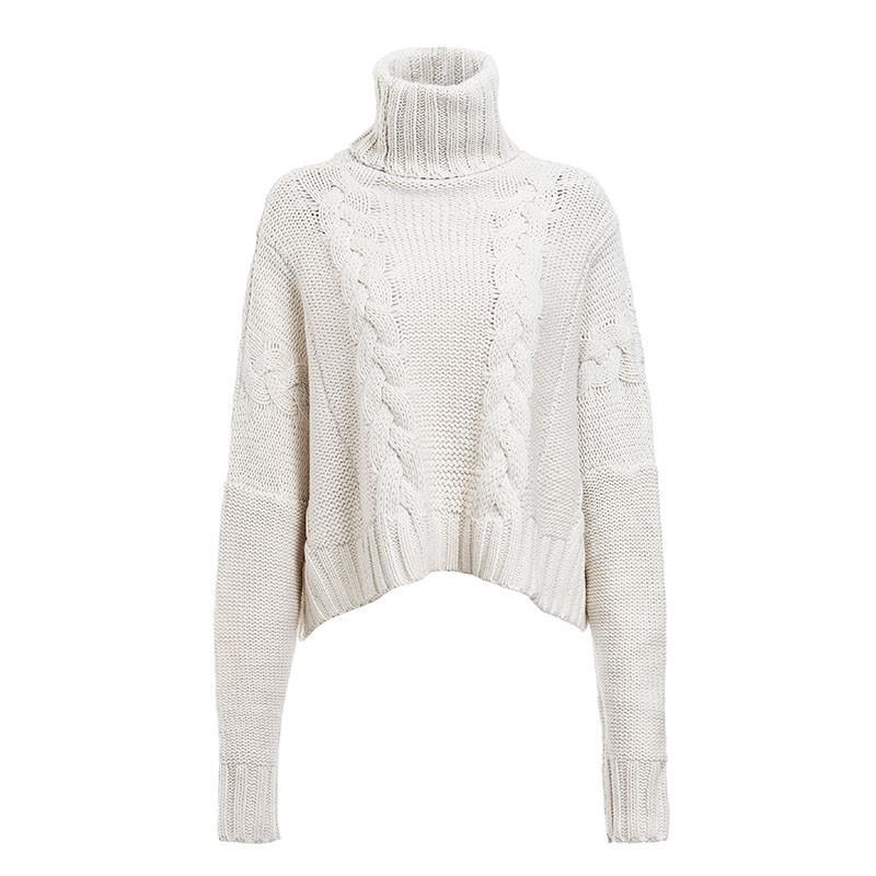 High Collar Plus Size White Sweater