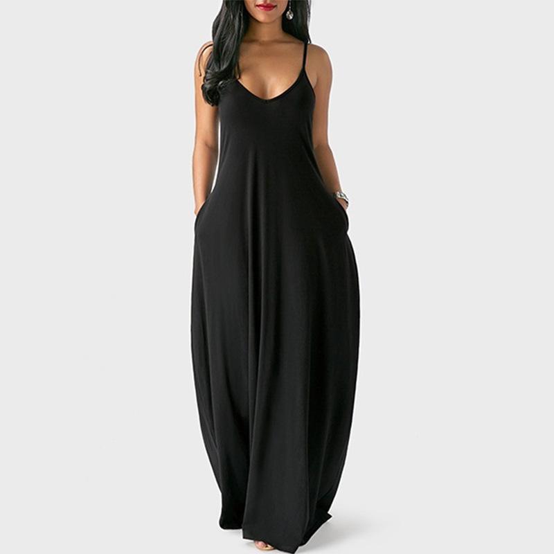Plus Size Sleeveless Maxi Dresses - Black color