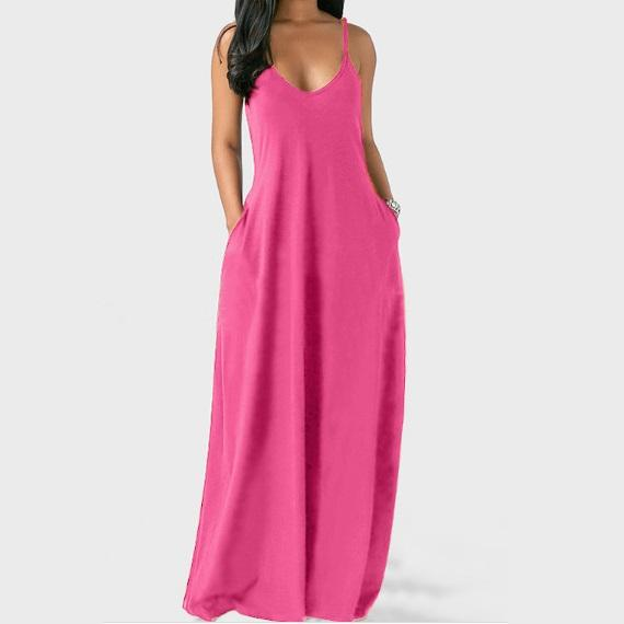 Plus Size Sleeveless Maxi Dresses - Rose red color