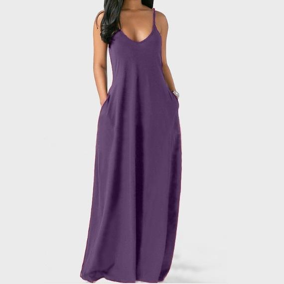 Plus Size Sleeveless Maxi Dresses - Purple  color