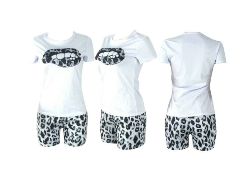 Plus Size Tracksuit Lips Matching Sets - white model picture