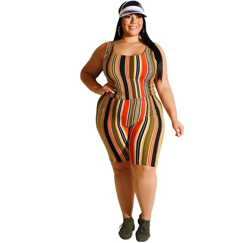 Plus Size Women Yoga Sportswear Sets - yellow color