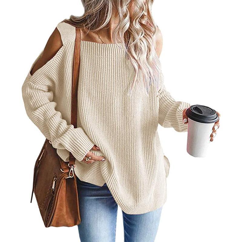 Plus Size Cold Shoulder Sweater - beige color