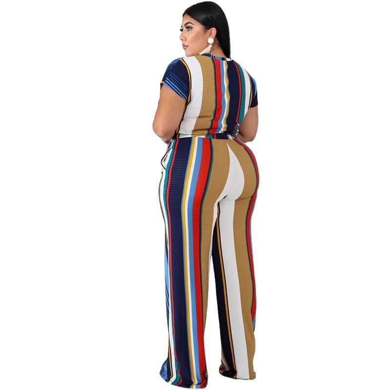 Plus Size Sets Womens Printed Stripes - blue back