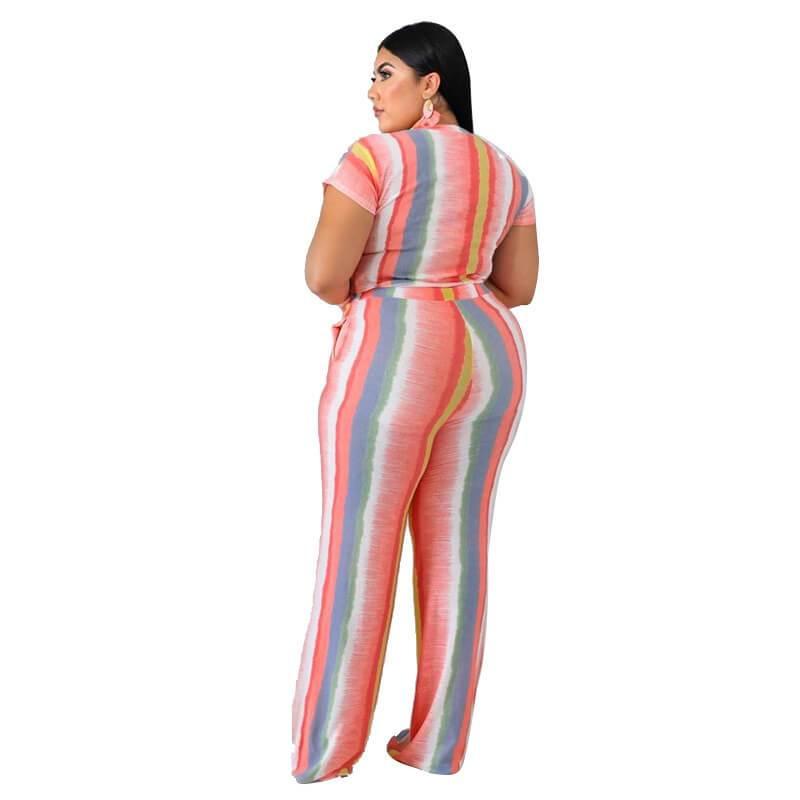 Plus Size Sets Womens Printed Stripes - pink back
