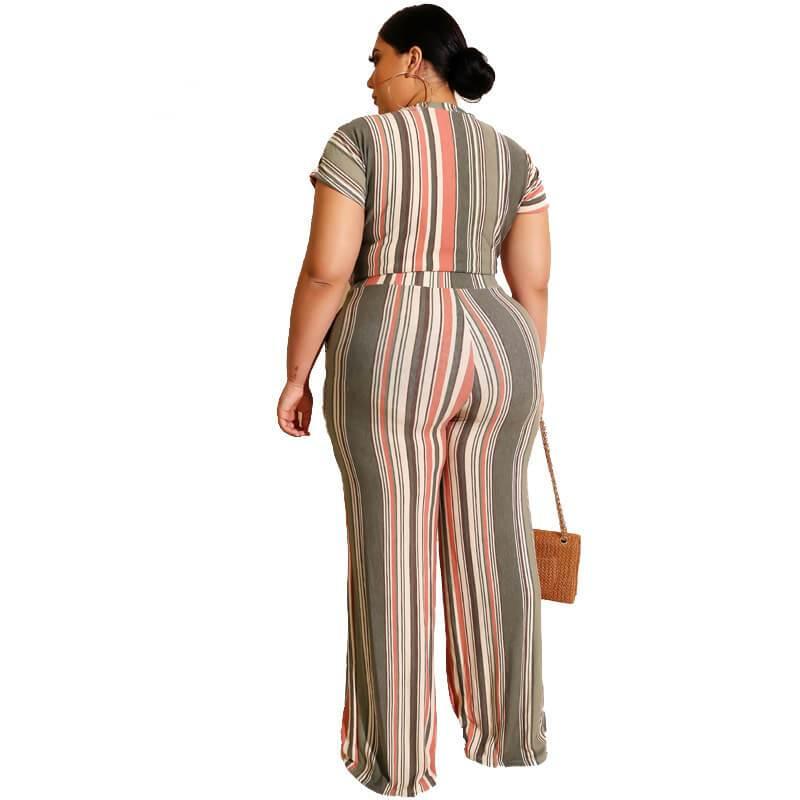 Plus Size Sets Womens Printed Stripes - beige back