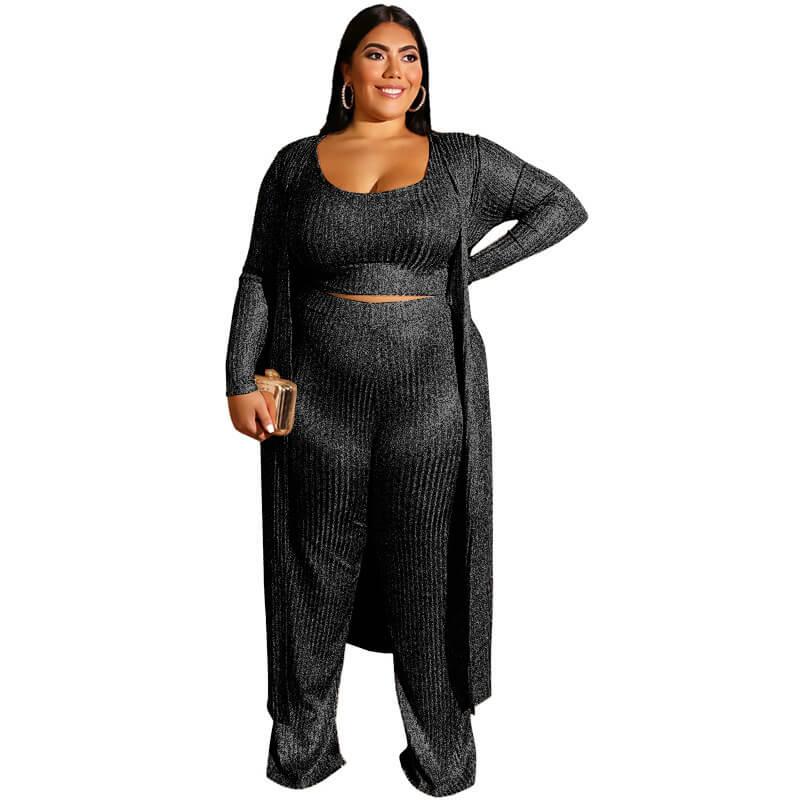 Large Three-piece Suit -  black color