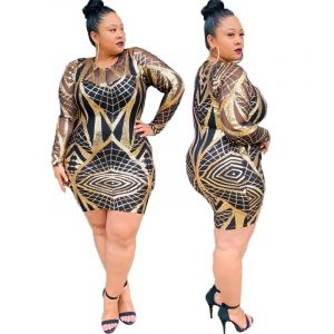 Gold Plus Size Dress - gold main picture