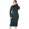 Grey Plus Size Dress - green color