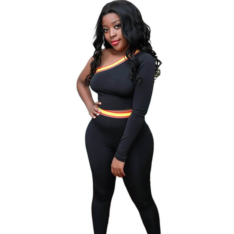 One Shoulder Two Piece Set - Front View