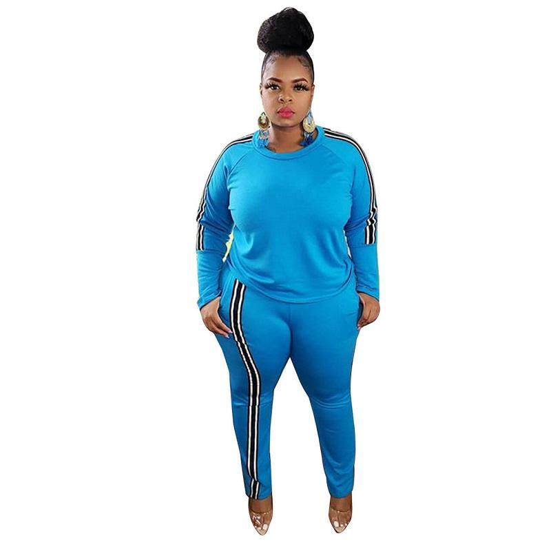 Plus Size 2 Piece Jogger Set - blue color