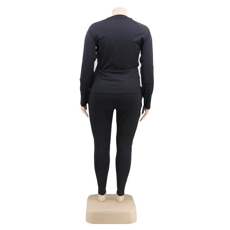 Plus Size 2 Piece Jogger Set - black back