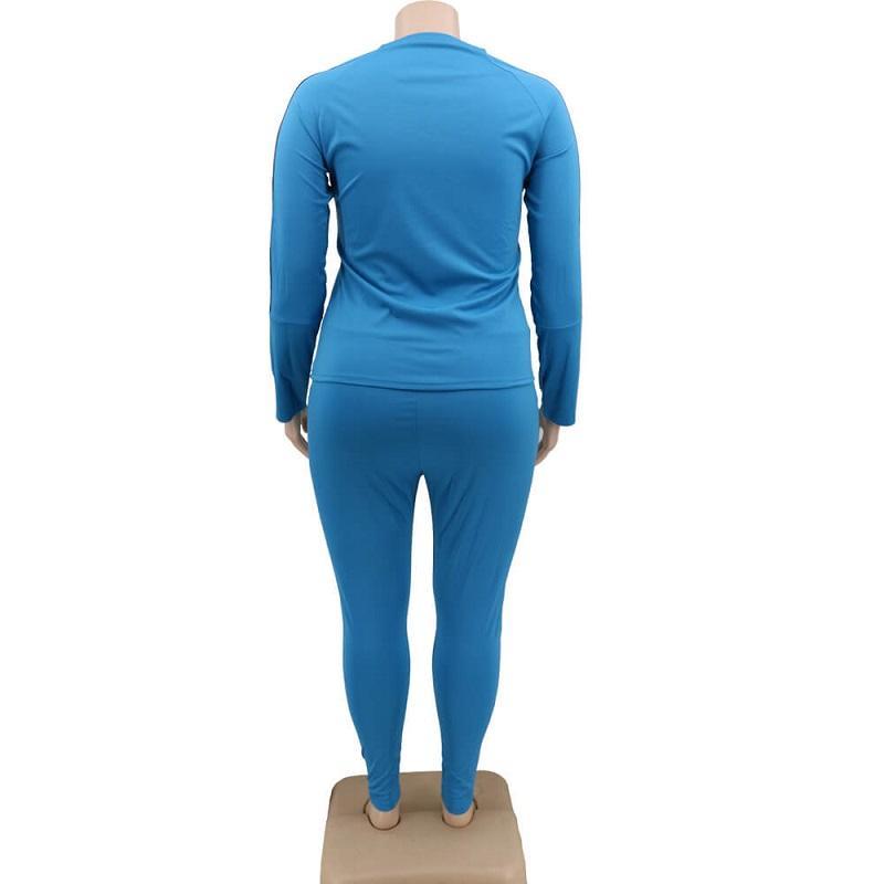Plus Size 2 Piece Jogger Set - blue back
