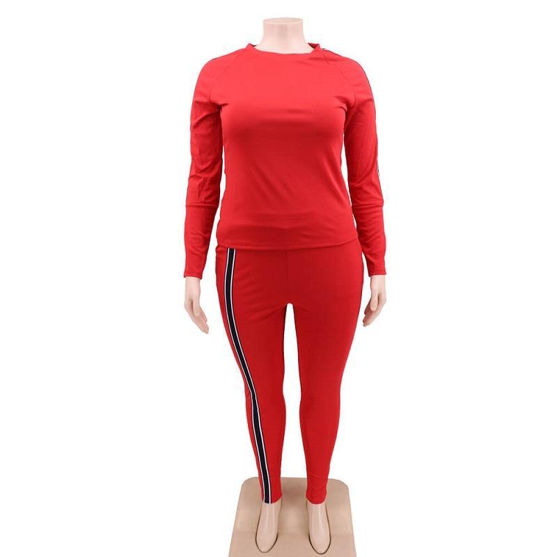 Plus Size 2 Piece Jogger Set - black red positive
