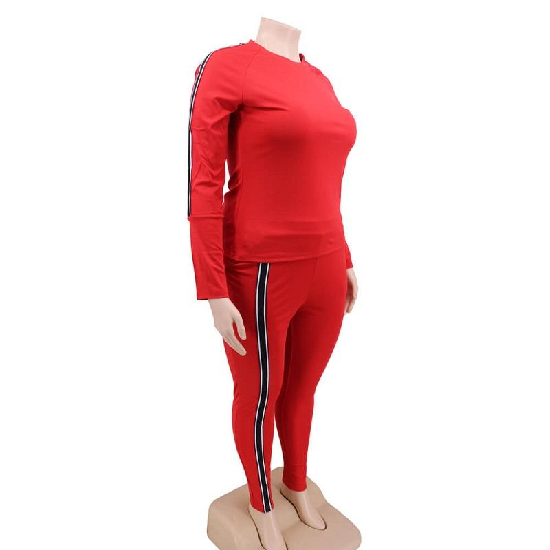 Plus Size 2 Piece Jogger Set - red right