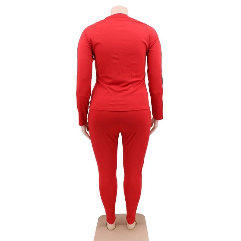 Plus Size 2 Piece Jogger Set - red back