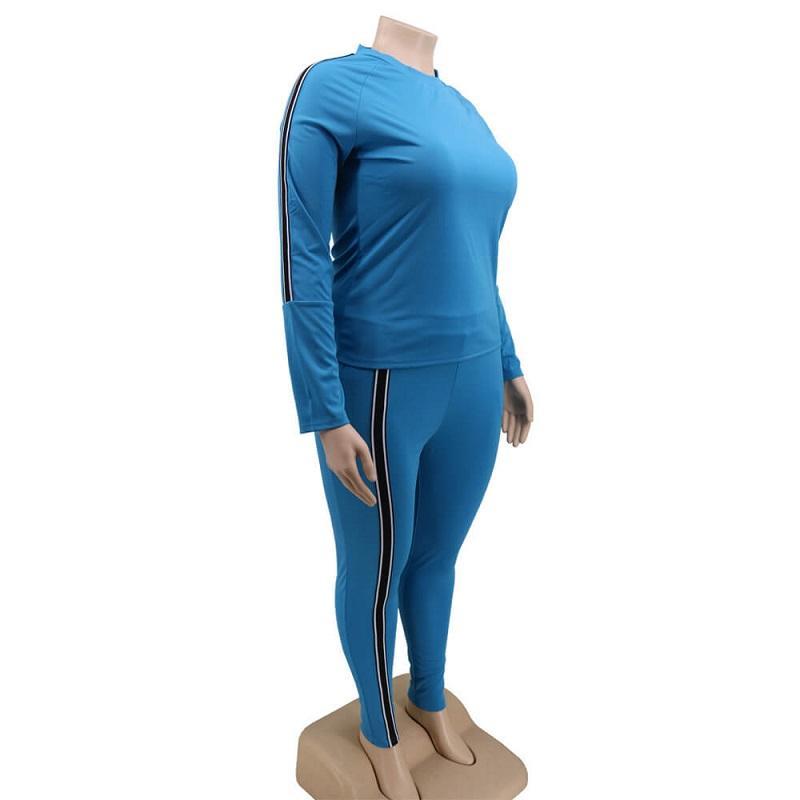 Plus Size 2 Piece Jogger Set - blue right