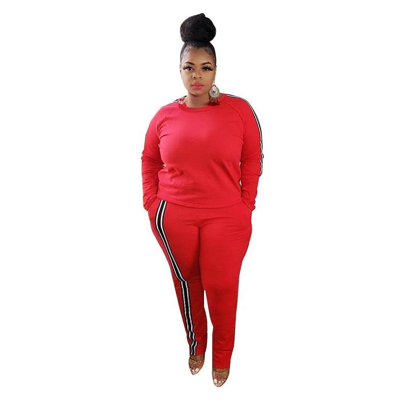 Plus Size 2 Piece Jogger Set - red color