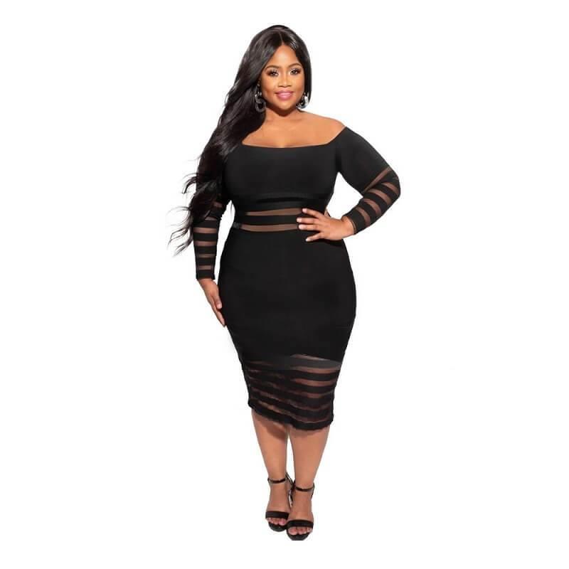 Cheap Plus Size Summer Dresses - black positive