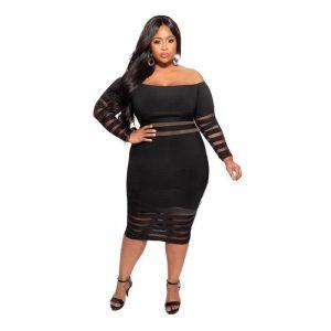 Cheap Plus Size Summer Dresses - black main picture
