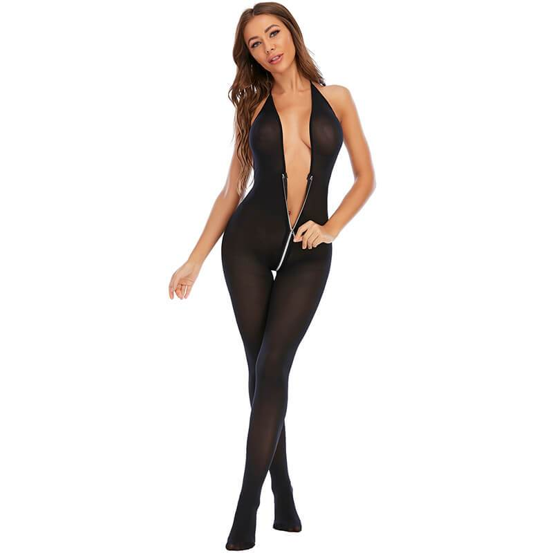 Black V-neck Sexy Negligee - Model Front View
