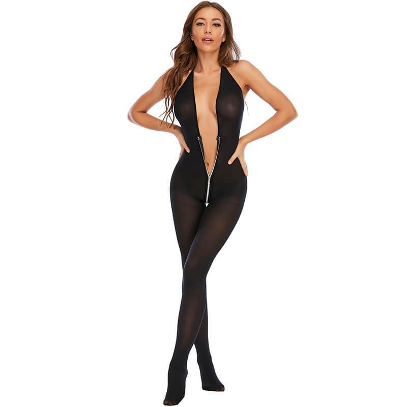 Black V-neck Sexy Negligee - Front Sexy Model View