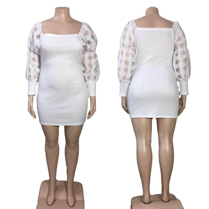 Plus Size White Lace Dress - model picture