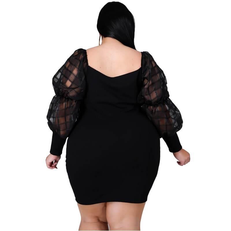 Plus Size White Lace Dress - black back