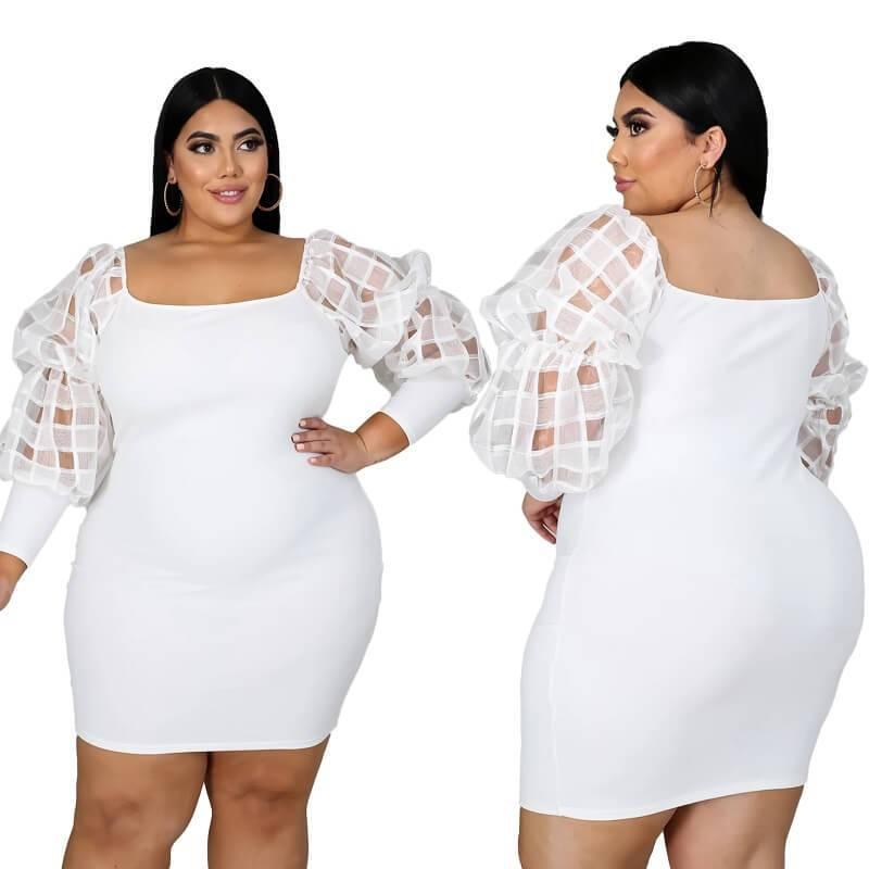 Plus Size White Lace Dress - white color