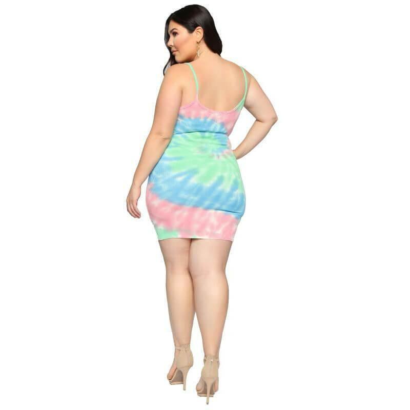 Summer Plus Size Suspender Dress - multi back