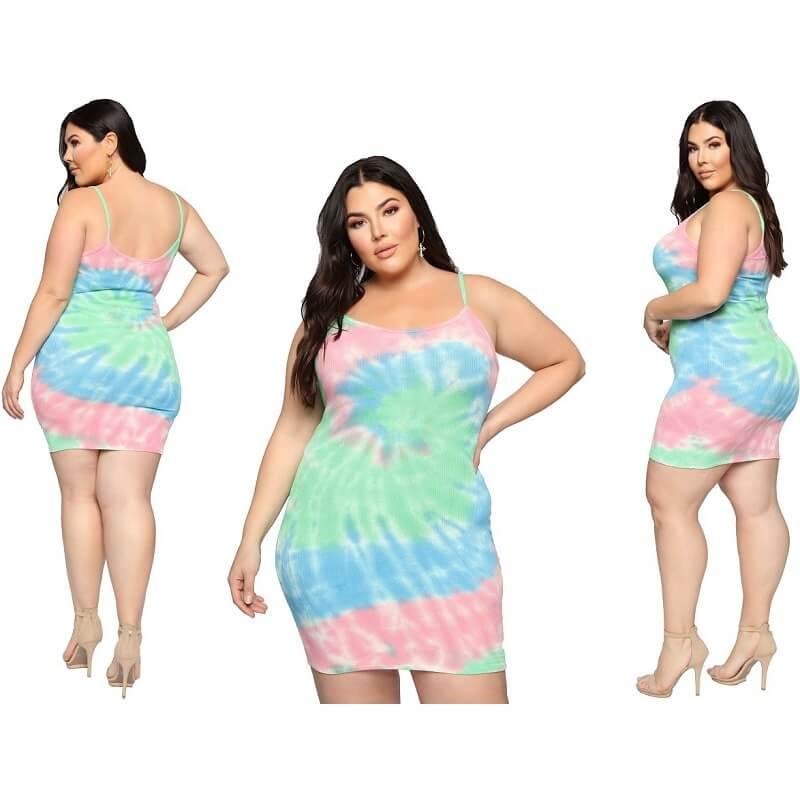 Summer Plus Size Suspender Dress - multi main picture